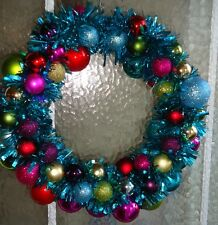 Christmas Bauble Tinsel Wreath Door Wall Hanging Decoration 16inch