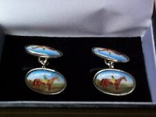 Elegant Sterling Silver Retro Style Horse and Jockey Cufflinks. Boxed. Racing