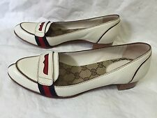 Gucci Women's Cream Logo Loafer Driving Slip On Shoe size 7 Red Blue Band