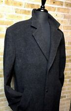 Andrew Fezza Men's 44L Long Cashmere Blend Overcoat Charcoal Gray