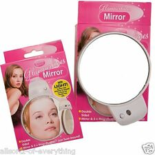 DOUBLE SIDED MAKE UP SHAVING MIRROR 3x MAGNIFICATION LIGHT & SUCTION CUP