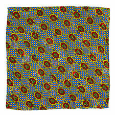 SANTOSTEFANO Handmade Blue Red Yellow Silk Pocket Square Handkerchief $150