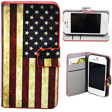Credit Card Slot Leather Wallet Phone Case Cover Skin For Apple iPhone 4 4S 4G