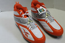 Reebok Pro Workhorse NFL Mid M12 17 Orange on White Football Cleats