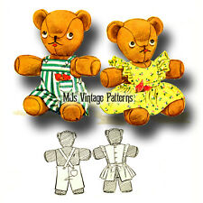 Vintage Stuffed Teddy Bear & clothes Pattern ~ Boy & Overalls, Girl & Dress