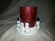 "CERAMIC SNOWMAN CANDLE HOLDER Home Decor with 4.75 x 4.5"" Red Pilar CANDLE NWOT"