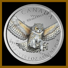 Canada $5 Dollars Silver Coin, 1 oz 2015 Horned Owl Colorized (Bird of Prey)