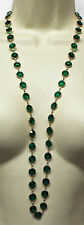 Vintage long GREEN Bezel set crystal NECKLACE Large crystals costume jewelry