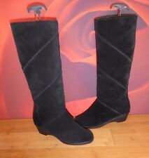 *7* VINTAGE MORLANDS  BLACK LEATHER SUEDE SHEEPSKIN LINED WEDGE BOOTS  UK 5