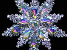 """PRONG SET SILVER AB CLEAR RHINESTONE FLOWER SNOWFLAKE PIN BROOCH JEWELRY 2.5"""" 3D"""