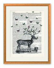 LARGE Butterflies on Stag Ltd Ed Art Print Antique Vintage Book Page Deer Birds