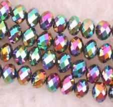 Wholesale 5  4x6mm +AB 98pcs silvery  Crystal Loose Beads+AB