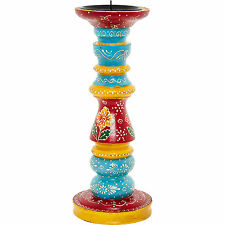 Large Painted Moroccan African Multicoloured Wooden Candle Stand Holder Blue Red