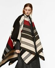 ZARA STRIPED LONG SLEEVED CAPE PONCHO BLANKET SHAWL WOOL JACKET M MEDIUM BNWT