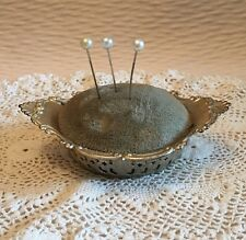 VINTAGE HALLMARKED GORHAM STERLING SILVER PIN CUSHION 4780 WITH CUSHION & LABEL