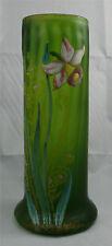 Joli vase Legras, verre givré ancien et émail, excellent état.
