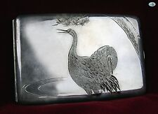 Antique Japanese Mikimoto Sterling Silver Birds .950 Cigarette Case in Box 1950s