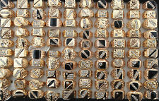 Wholesale lots 15pcs mixed design rhinestone&alloy cool trendy men's rings G003