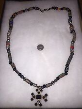 Sterling Silver .925 marked Garnets Venetian Glass Trade Beads Necklace 202 Gms