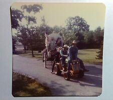 Vintage 70s Photo Parade w/ Man Riding On Hood Of Lawnmower Pulling Carriage