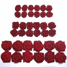 36 Red Pearl Roses edible ruby wedding cake decorations sugar flowers 25/30/45mm