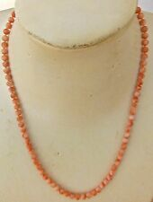 VINTAGE CORAL BEADS NECKLACE / COLLIER DE PERLES EN CORAIL ROSE VERITABLE-N°2