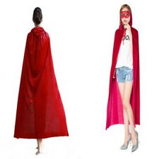 Red Hooded Velvet Cloak Cape Medieval Costume Wedding Pagan Witch Wicca Vampire
