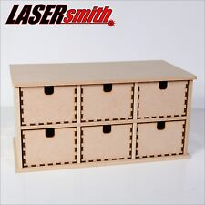 6 SIX DRAWER PLAIN WOOD WOODEN BOX, STORAGE CUPBOARD, CHEST OF DRAWERS