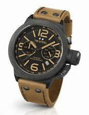Mens TW Steel 50mm Canteen Brown Leather Black Dial Case Chronograph Watch CS44