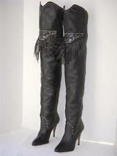 Vintage Rare Wild Pair Black Leather Fringe Thigh High OTK Boots 8.5