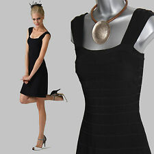 MONSOON Stunning Black Senna Swing Prom Square Neck Wide Strapped Dress UK  8