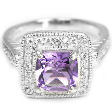 NATURAL AAA PURPLE AMETHYST 8X8MM. & WHITE CZ STERLING 925 SILVER RING 7.5