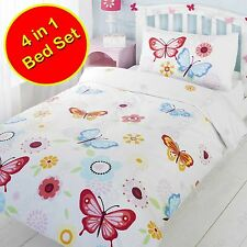 WHITE JUNIOR TODDLER BED 10.2cm 1 BUTTERFLY BEDDING SET DOONA+PILLOW + COVERS