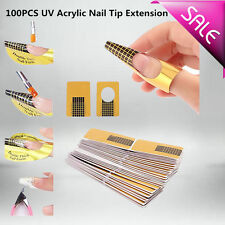 100 X  Golden Nail Art Tips Extension Forms Guide French DIY Tool Acrylic UV Gel