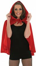Short Ladies Soft Red Riding Hood Cape & Hood Fairytale Cloak Fancy Dress