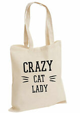 CRAZY cat LADY,Grumpy cat Moderno Divertente Borsa grande Cotone Shopper college