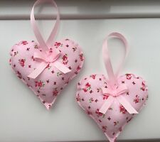 HANDMADE FABRIC HANGING HEARTS - SET OF TWO - PINK FLORAL -SHABBY CHIC - VINTAGE