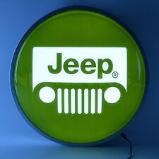 Jeep Rubicon Grill Wrangler opti neon back lit LED sign Round Garage light