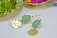 OttomanGems semi precious gem stone gold plated earrings Chalcedony handmade