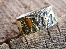 Sterling silver 12 kgf Navajo wide ring 3 gold horses size 9, 10,11, or 12