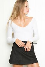 NEW!  brandy melville white cropped long sleeve v-neck blake top NWT S/M