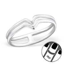 925 Sterling Silver Midi Ring Double V Line US Size 3.5 Body Jewellery Wishbone