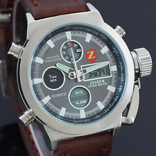 Zeiger Luxury Sport Mens Watch Analog Digital Alarm Chronograph Military Watch