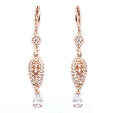 Pretty Rose Gold Filled Cubic Zircon Women's Drop Earrings With Gift Box