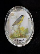 Paperweight Oval Glass Bird Design By Anna Corba
