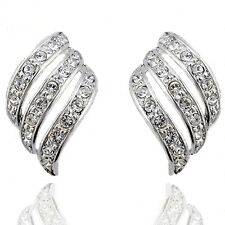 18k White Gold GP Austrian Crystal Angel Wing Zircon Earrings Studs E78b