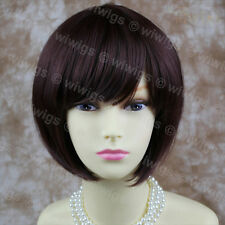 Silky Short Bob Skin Top Dark Wine Red wigs Lady Wig from WIWIGS UK