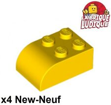 Lego - 4x Brique Brick Modified 2x3 with Curved Top jaune/yellow 6215 NEUF