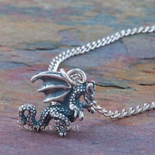 925 sterling silver 3D WINGED DRAGON charm Pendant chain Necklace