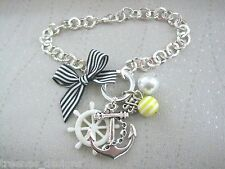 ANCHOR NAUTICAL Navy Stripe Bow Silver Plated Charm Bracelet White Wheel Pearl